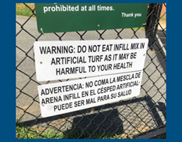Sign - Warning: Do not eat infill mix in artificial turf as it may be harmful to your health